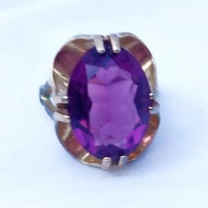 Vintage Amethyst and Gold Large Cocktail Ring